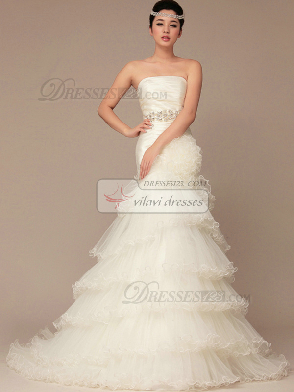 Noble Mermaid Sweep Flower Tiered Wedding Dresses
