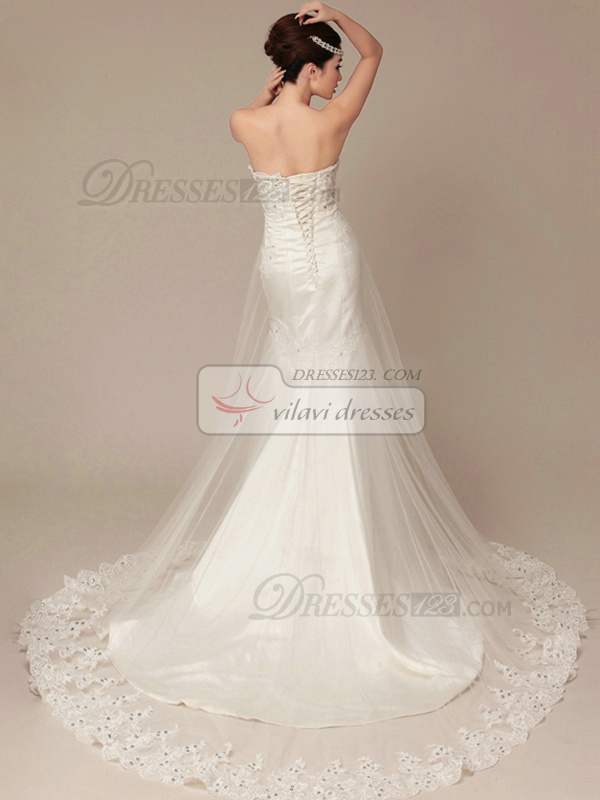 Noble Mermaid Tulle Court Train Lace Wedding Dresses
