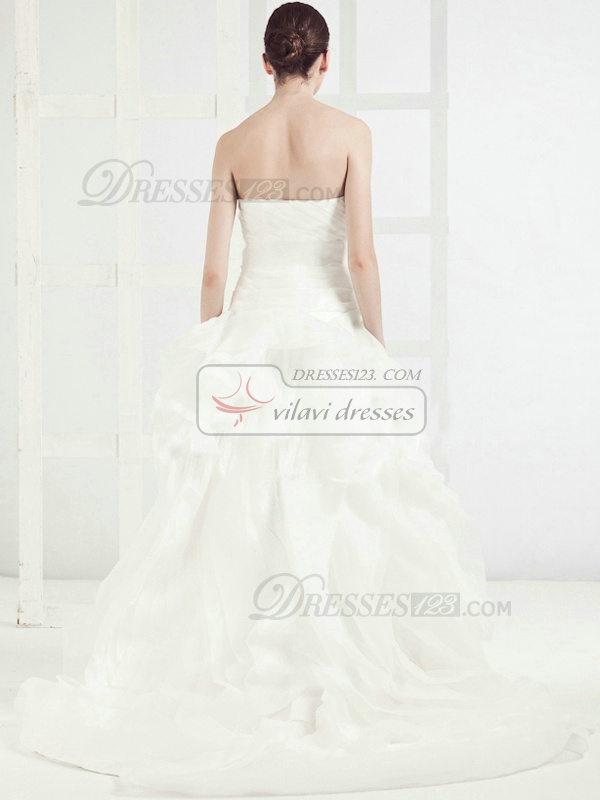 Noble Princess Strapless Chapel Train Pick-Ups Wedding Dresses