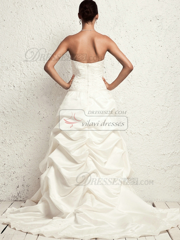 Noble Princess Taffeta Tube Top Appliques Wedding Dresses