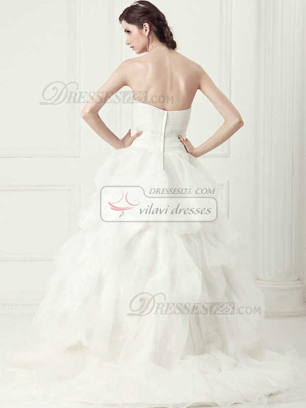 Noble Princess Tulle Chapel Train Pick-Ups Wedding Dresses