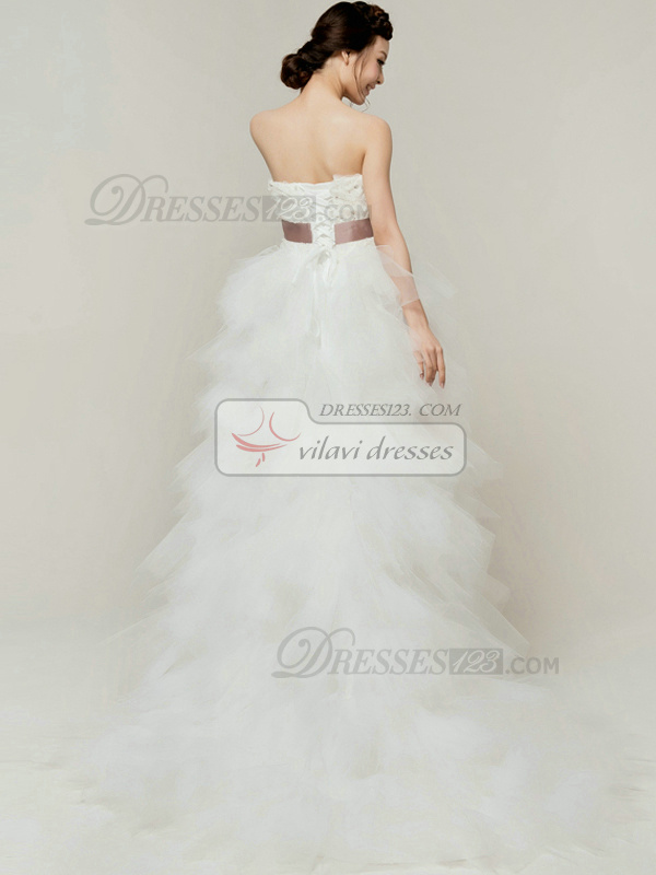 Noble Princess Tulle Strapless Tube Top Asymmetrical Sashes Flower Wedding Dresses
