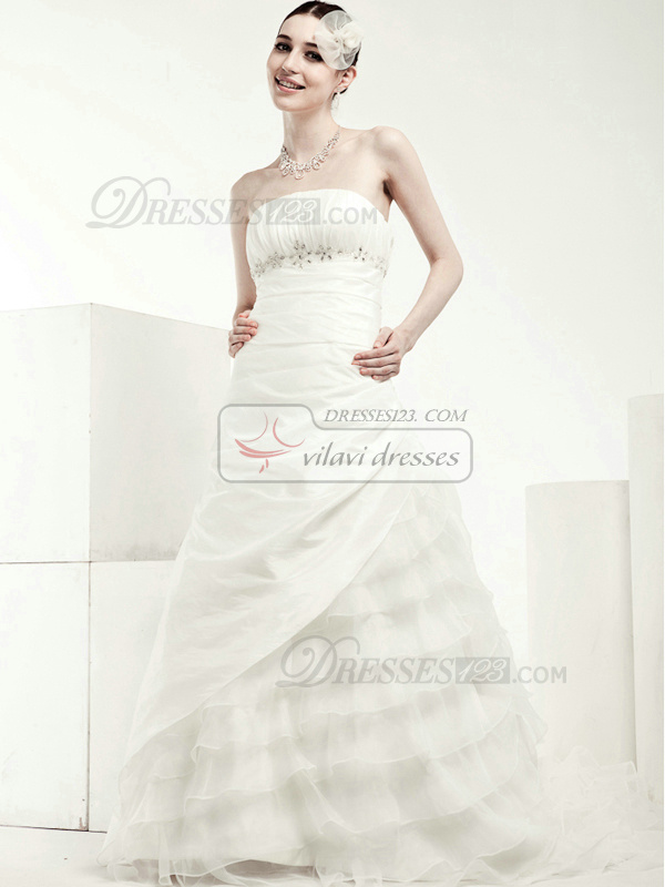 Noble Princess Tulle Tube Top Beading Wedding Dresses