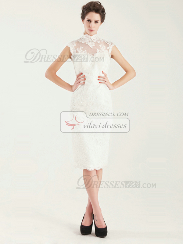 Noble Sheath High neck Tea-length Short Sleeve Wedding Dress