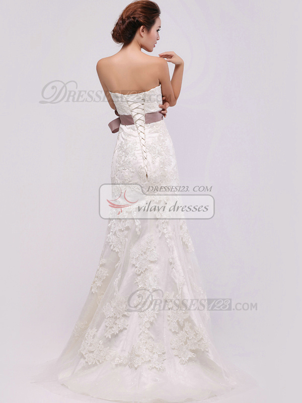 Perfect A-Line Lace Sweep Sashes Wedding Dresses