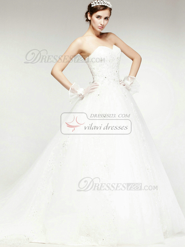 Perfect A-Line Sweetheart Cathedral Train Lace Wedding Dresses