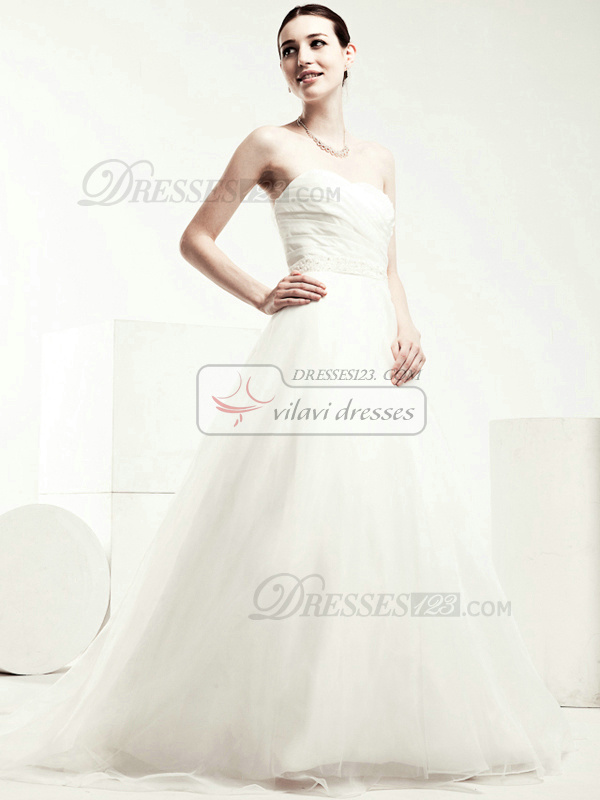 Perfect A-line Tulle Chapel Train Beading Wedding Dresses