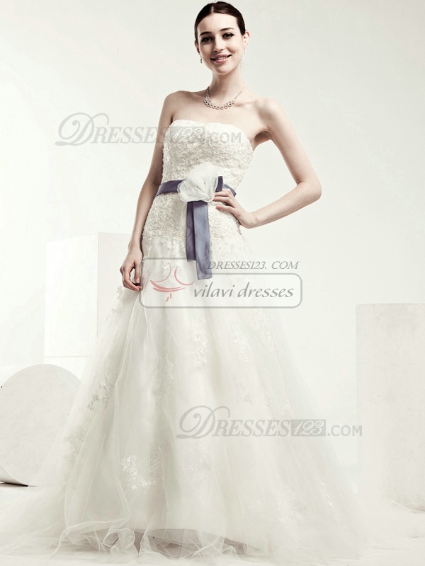 Perfect A-line Tulle Chapel Train Sashes Wedding Dresses