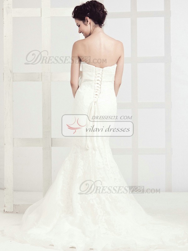 Perfect Mermaid Lace Sweep Sashes Wedding Dresses