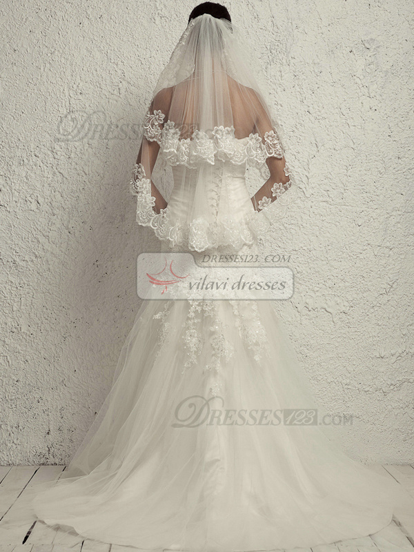 Perfect Mermaid Lace Tube Top Chapel Train Wedding Dresses