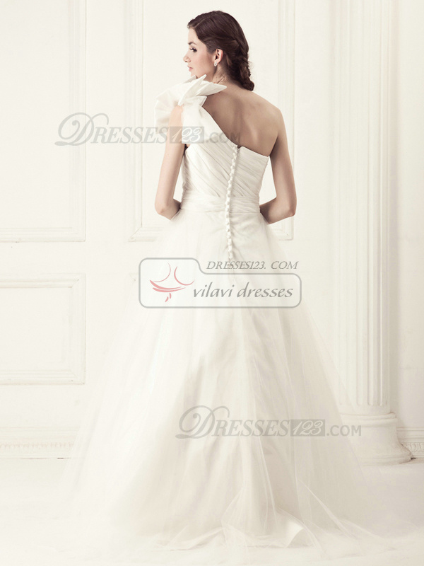 Perfect Princess One shoulder Chapel Train Crystal Wedding Dresses