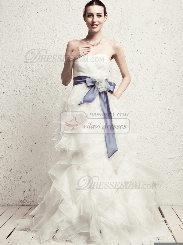 Perfect Princess Organza Sweep Tiered Wedding Dresses