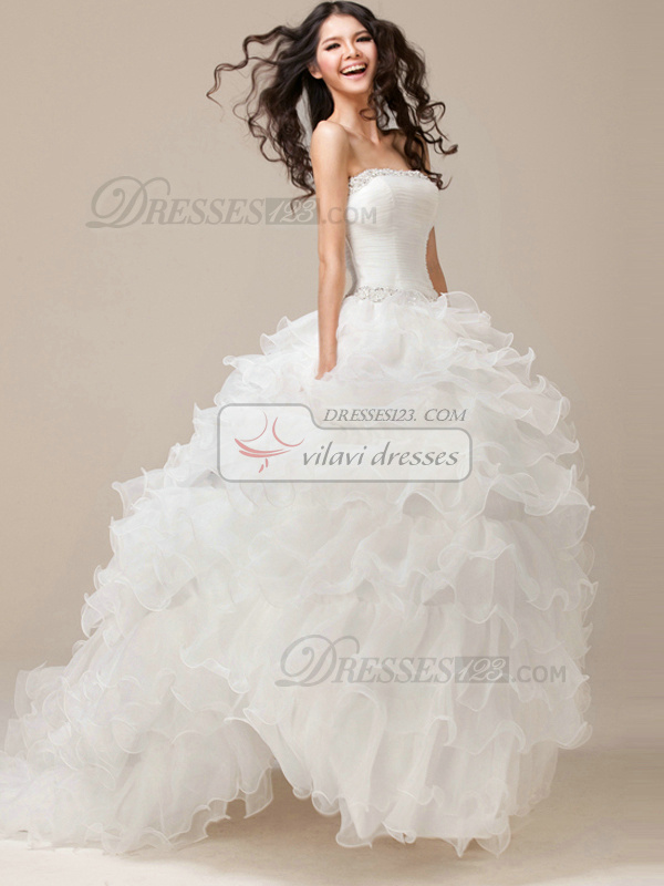 Perfect Princess Strapless Tube Top Organza Natural Wedding Dress ...