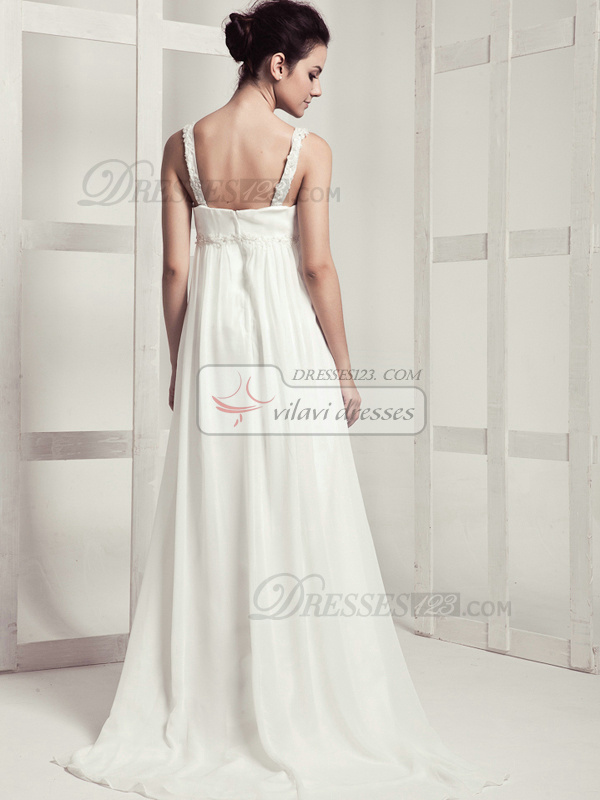 Perfect Column V-neck Sweep Draped Wedding Dresses