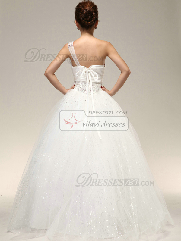 Precious Ball Gown One shoulder Bowknot Beading Wedding Dresses