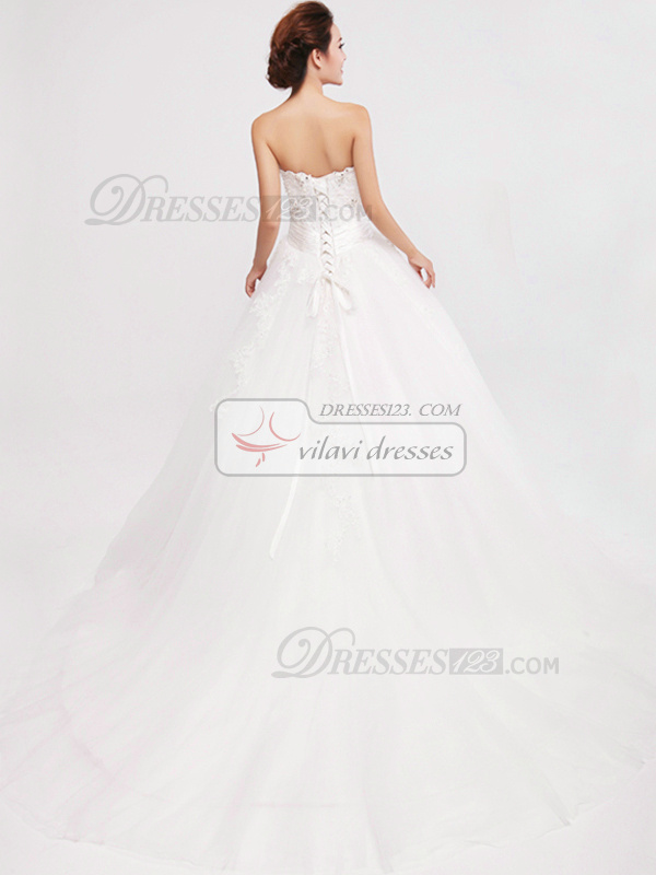 Precious Ball Gown Tulle Strapless Appliques Wedding Dresses
