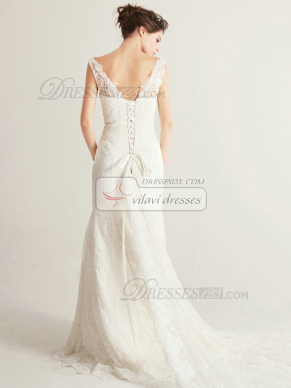 Precious Mermaid Cathedral Train Lace Wedding Dress