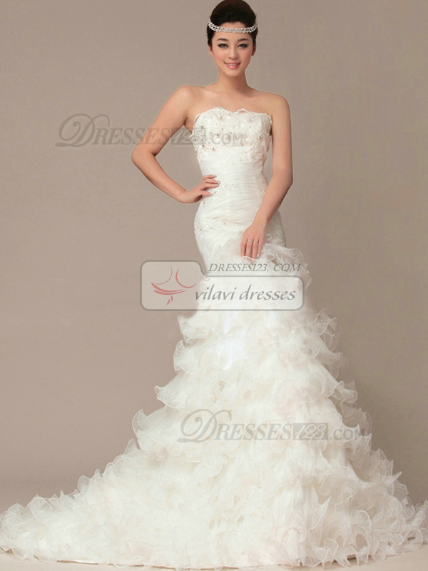 Precious Mermaid Organza Court Train Tiered Wedding Dresses