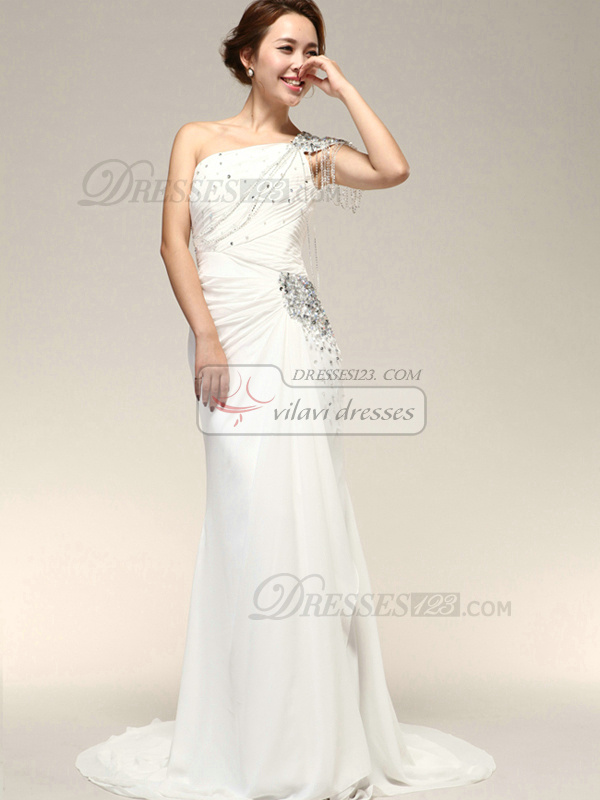 Precious Column Chiffon One shoulder Rhinestone Wedding Dresses