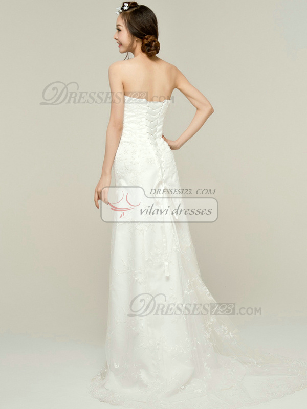 Precious Column Tulle Strapless Tube Top Beading Lace Wedding Dresses