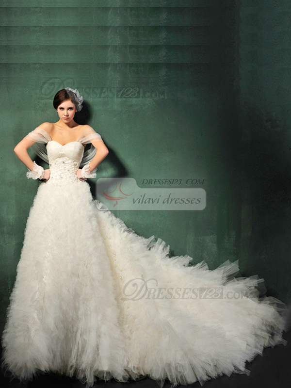 Princess Organza Off the shoulder Zipper Sweep Beading Ruffle Wedding Dresses