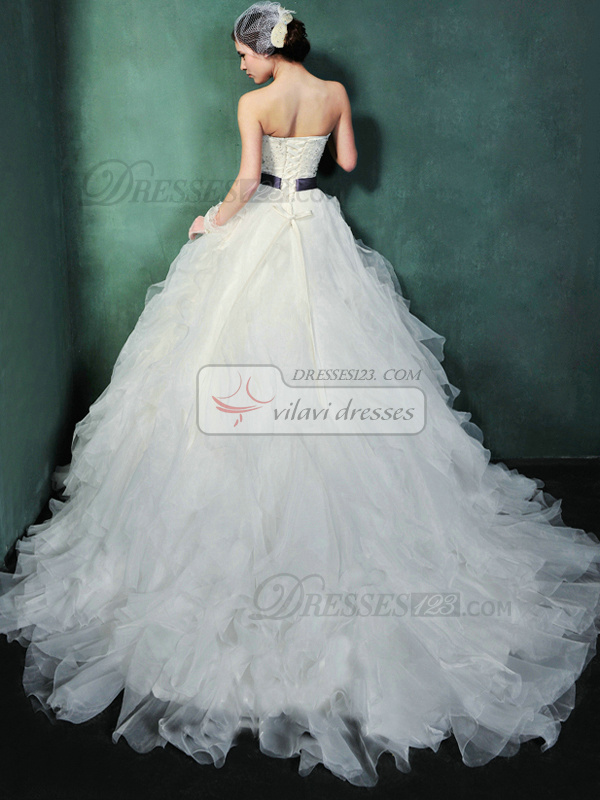 Princess Organza Sweetheart Strapless Lace-up Sweep Rhinestone Beading Wedding Dresses