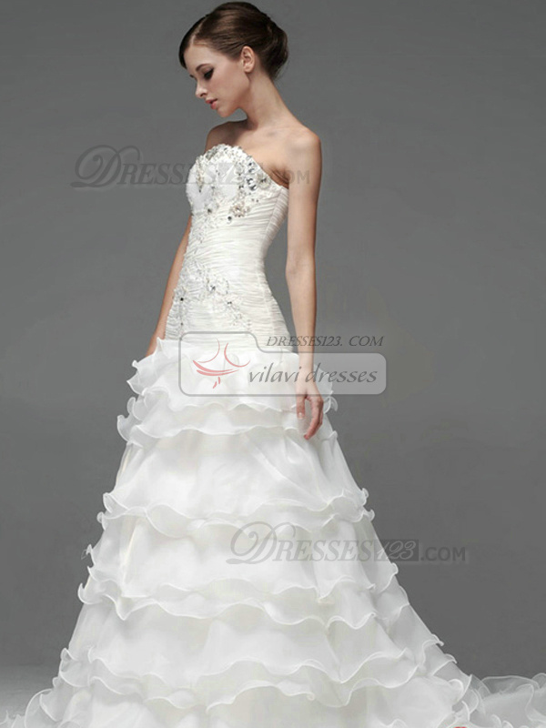 Princess Organza Tube Top Strapless Lace-up Crystal Wedding Dresses