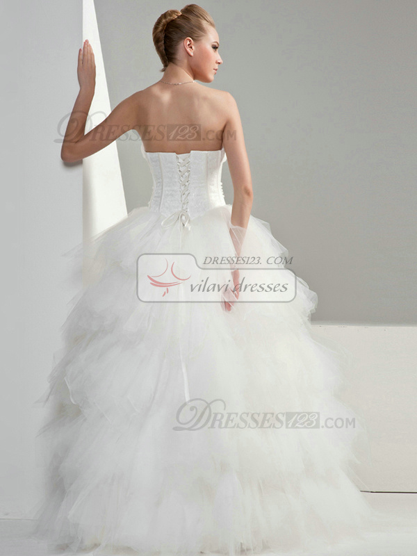 Princess Tulle Tube Top Strapless Lace-up Floor-length Sequin Beading Wedding Dresses