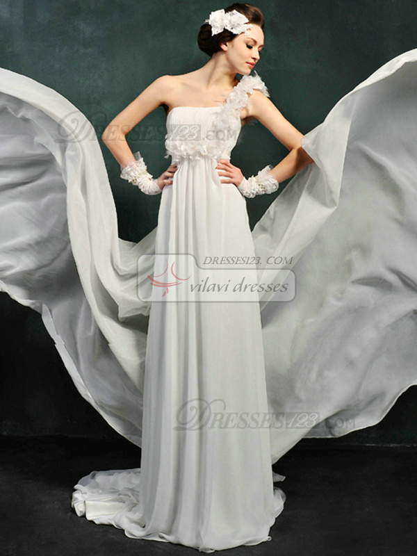 Column Chiffon One shoulder Empire Sweep Flower Wedding Dresses