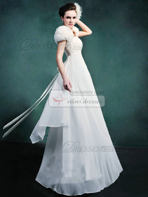 Column Chiffon Sweetheart Strapless Empire Floor-length Beading Wedding Dresses With Jacket