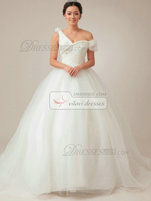 Shining Ball Gown Asymmetrical Collar Chapel Train Draped Wedding Dresses