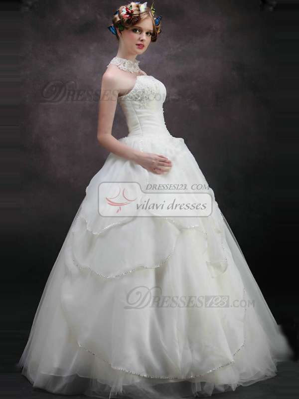 Surpassingly beautiful ball gown strapless tube top floor for Sheath wedding dress with beading and side drape