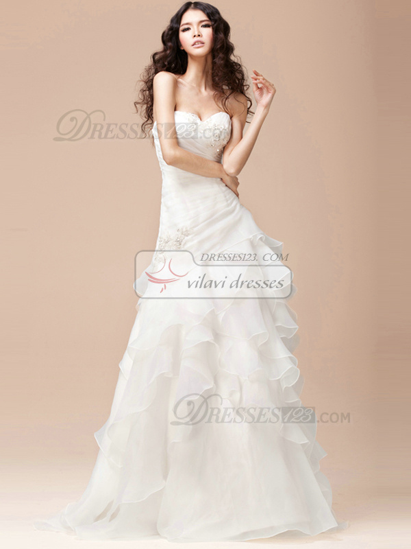 Surpassingly Beautiful Mermaid Organza Embroidery Court Train Wedding Dress