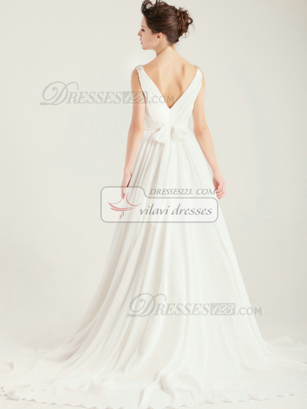 Tactile Sensation A-Line Chapel Train Chiffon Straps Wedding Dress
