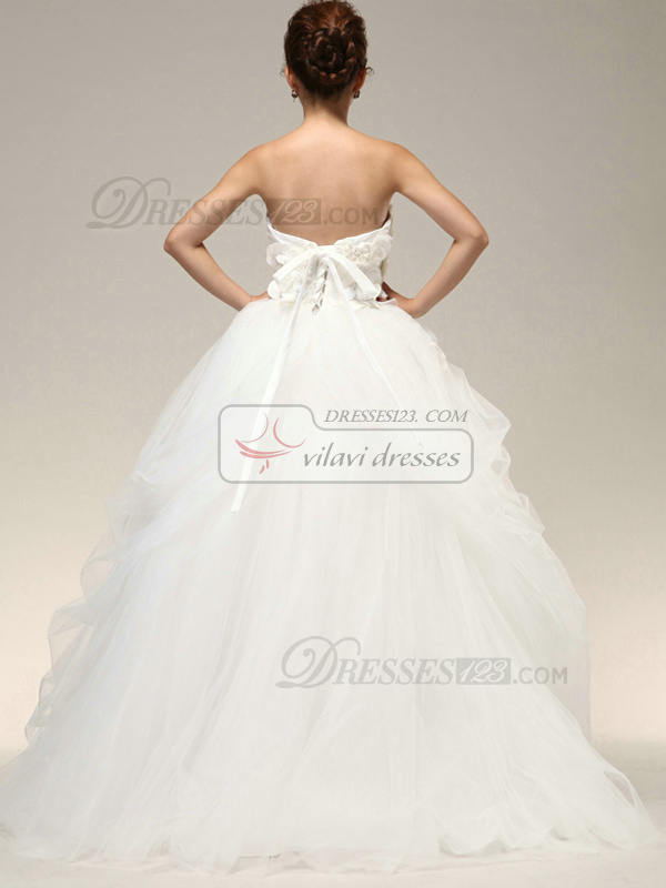 Tactile Sensation Ball Gown Cascading Ruffle Flower Wedding Dresses