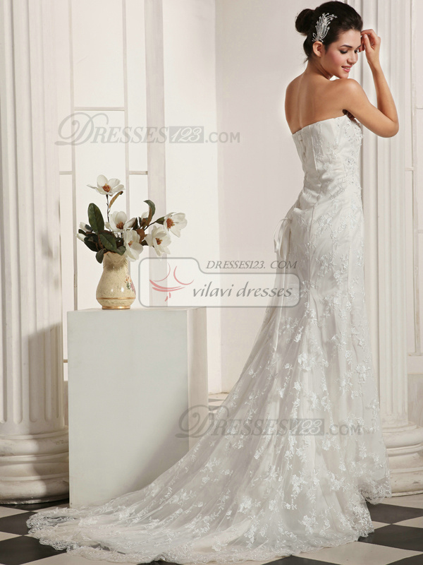Perfect Mermaid Lace Tube Top Chapel Train Beading Wedding Dresses