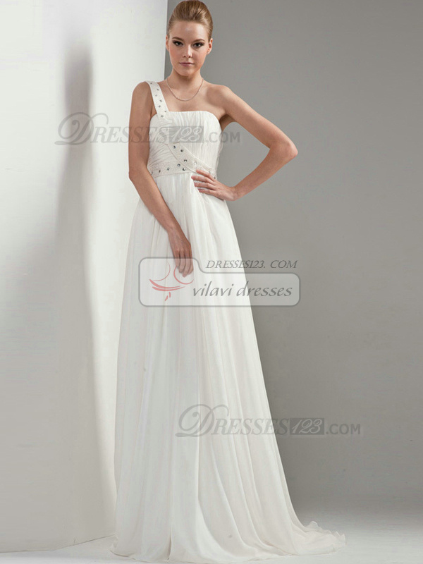 Column Chiffon One shoulder Lace-up Sweep Rhinestone Wedding Dresses