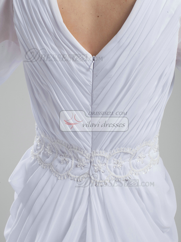 Impressive Sheath Chiffon V-neck Sweep Train Wedding Dresses