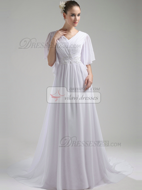 Impressive A-Line Chiffon V-neck Court Train Wedding Dresses