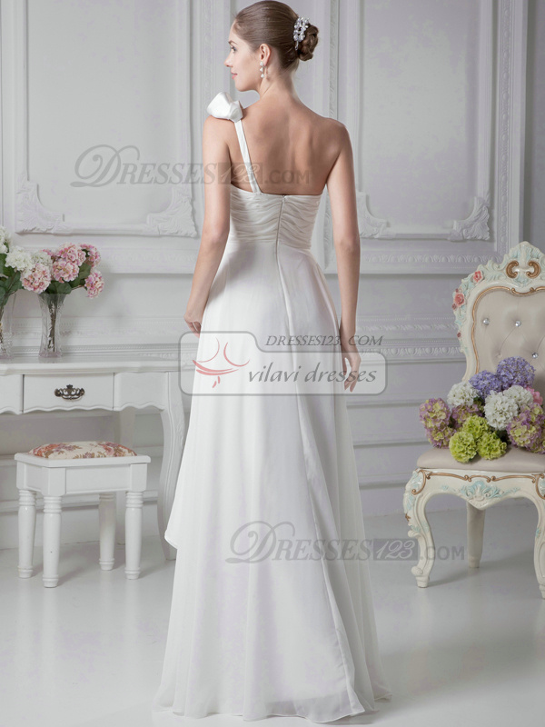 Outstanding A-Line Chiffon One shoulder Floor-length Wedding Dresses