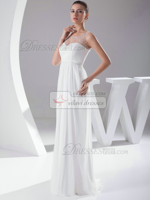 Glorious Column Chiffon Bateau Sweep Train Wedding Dresses