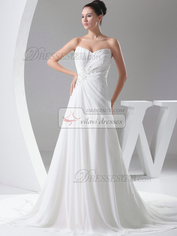 Amazing A-Line Chiffon V-neck Court Train Wedding Dresses