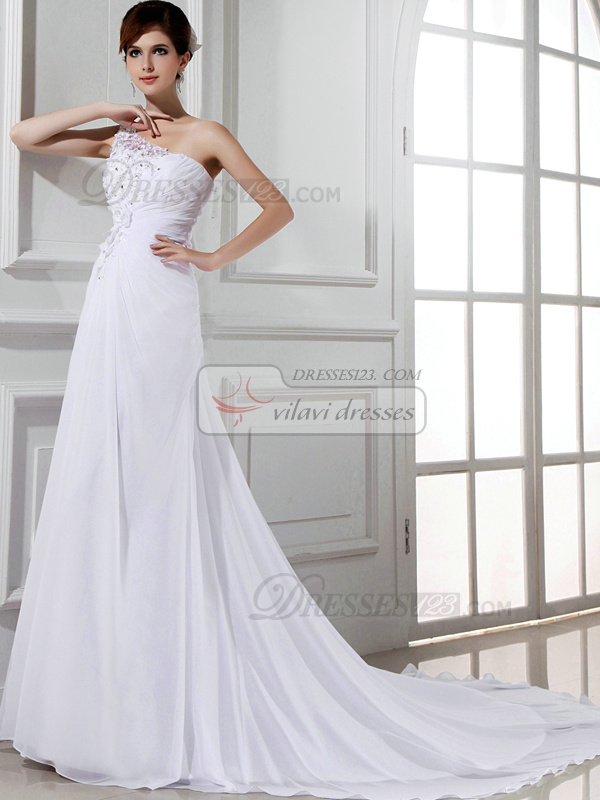 Glamorous Column Chiffon One shoulder Rhinestone Wedding Dresses