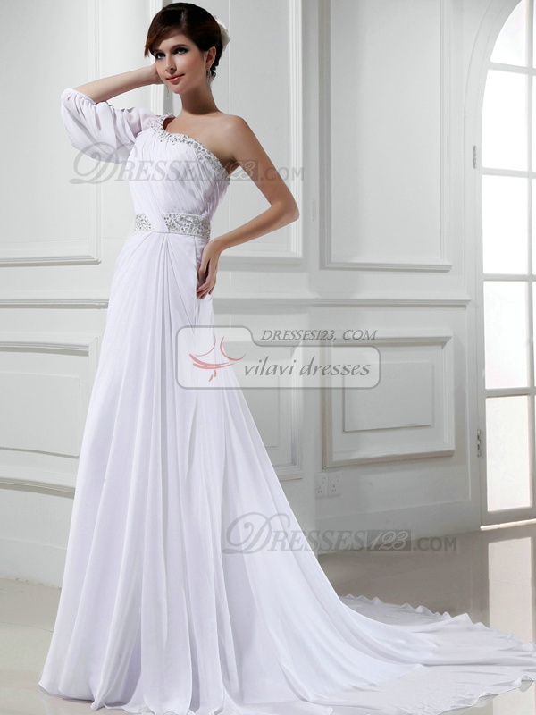 Graceful Column Chiffon One shoulder Cascading Ruffle Wedding Dresses