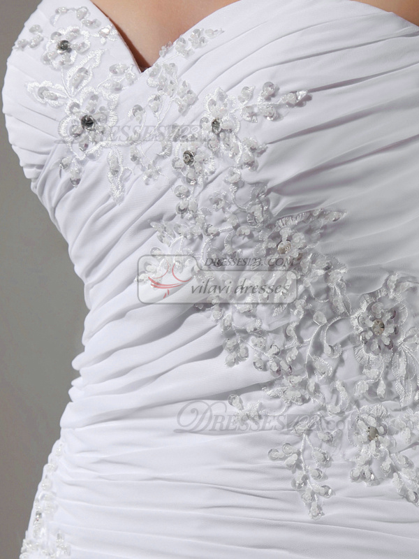 Bravo Column Chiffon Sweetheart Appliques Wedding Dresses