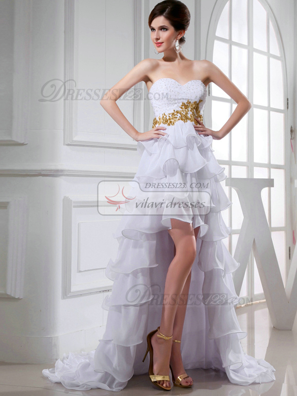 Graceful Princess Chiffon Sweetheart Sequin Wedding Dresses