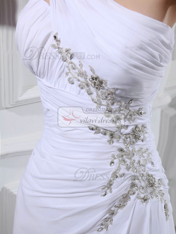 Tactile Sensation A-line Chiffon One shoulder Rhinestone Wedding Dresses