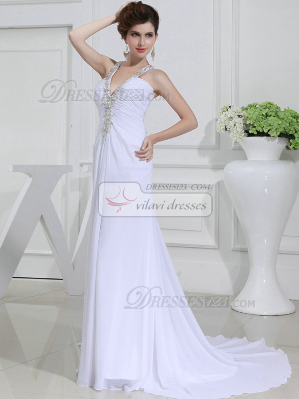 Surpassingly Beautiful Column Chiffon V-neck Appliques Wedding Dresses