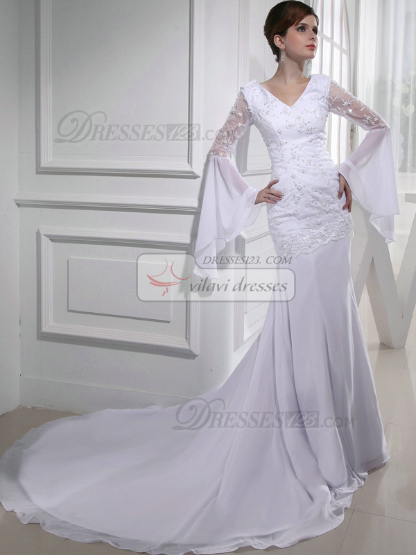 Remarkable Over Hip Chiffon V-neck Beading Wedding Dresses