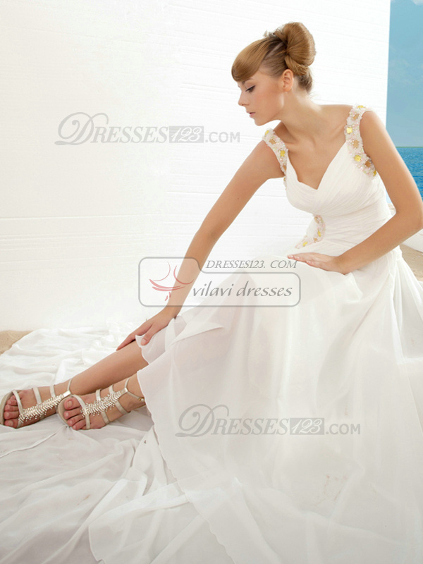 Mermaid Sweetheart Straps Court Train Chiffon Crystal Wedding Dresses